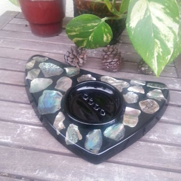 Now On Sale 1960's Black Acrylic Abalone Ashtray ** Vintage Man Cave Barware Decor ** Mid Century 1950's 1960's Home Decor ** Collectible  T