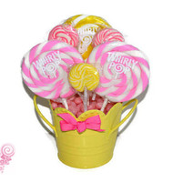 Small Pink and Yellow Lollipop Centerpiece, OOAK, Baby Shower, Its a Girl, Candy Buffet, Centerpiece, Candy, Lollipops, Baby Girl, Edible