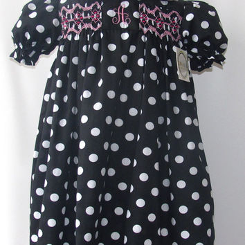 Black Smocked dress for girls toddlers FREE Personalization 3T,4T,5T