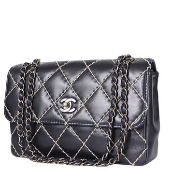 Chanel Wild Stitched 2.55 Classic Shoulder Bag Black