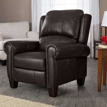 High Quality Top Grain Leather Upholstered Wingback Recliner Club Chair in Chocolate Brown