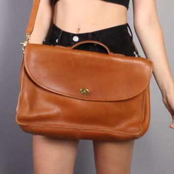 80s COACH Leather BRIEFCASE / TAN Messenger Bag Satchel with Shoulder Strap