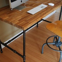 Industrial Modern Steel pipe and Oak desk
