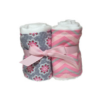 Pink and Grey Chevron and Flower Baby Burp Cloth and Cloth Diaper Set with Pink Rhinestone Hair Clip