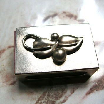 Vintage Match Box - Art Nouveau Match Box - Sliding Match Box - Silver Tone Match Box