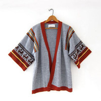 vintage 70s cardigan sweater / sweater wrap / Janzen tribal sweater