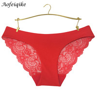 Women Lace Sexy Panties,Ultra-Thin Transparent Flower Embroidered Plus Size Underwear Women's Briefs