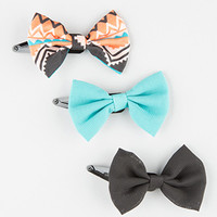 FULL TILT 3 Piece Tribal Mix Bow Hair Clips | Hair Accessories