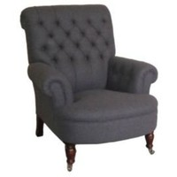One Kings Lane - Little Bit of Luxe - George Smith Scroll Armchair, Gray