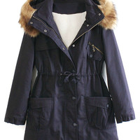 Navy Pocket Detail Detachable Faux Fur Hood Parka Coat