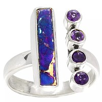 Amethyst & Purple Copper Turquoise Sterling Silver Oblong Ring