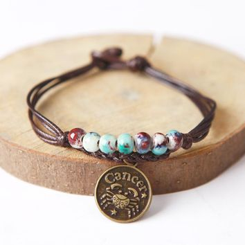 Ceramic Beaded Charm Bracelet Wax Rope Bracelet Bangle With Constellation Pendant Zodiac Astrological Sign Cancer