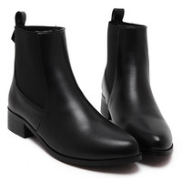 Black PU Almond Toe Cheseal Ankle Boots