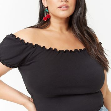 Plus Size Lettuce-Edge Off-the-Shoulder Crop Top