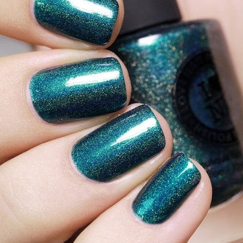 Fall Semester - Deep Dark Teal Holographic Nail Polish