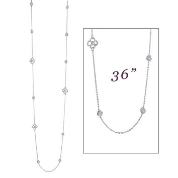 Lafonn Classic Sterling Silver Platinum Plated Lassire Simulated Diamond Necklace (6.33 CTTW)