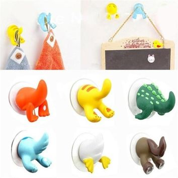 Cute Animal Tail Strong Suction Cup for Bathroom Hooks with Sucker Door Wall Clothes Hangers Home Kitchen Ventosa