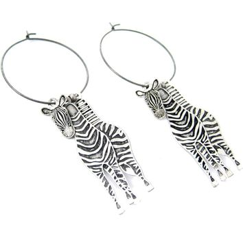 Unique 3D Zebra Horse Shaped Three Part Dangle Earrings in Silver | Animal Jewelry