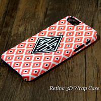 Elegant Geometric Rhombus Custom Monogram 3D-Wrap iPhone 5S Case iPhone 5 Case iPhone 5C Case iPhone 4S Case iPhone 4 Case