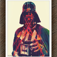 "DARKSIDE (Darth Vader from STAR WARS) 8x10"" Digital Illustration High Gloss Print by MoPS"