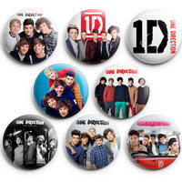 One Direction Pinback Buttons Badge 1.25 inch (Set of 8) NEW