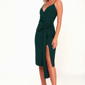 Inspiration Forest Green Knot Front Midi Dress