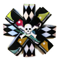 Stacked Hair Bow - Checkerboard, checkered, sneakers, skull and crossbones - Rocker chic, punk, skater, scene, unique, spooky cute