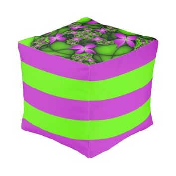 Modern Abstract Neon Pink Green Fractal Flowers Pouf