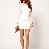 ASOS PETITE Exclusive Bodycon Dress With Embellished Cuff at asos.com