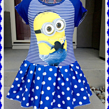 girls MINION Dress Dispicable Me 2 custom boutique ready to ship 7/8