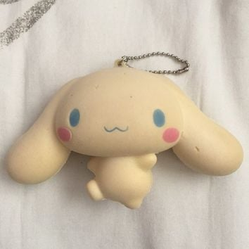 Limited edition Cinnamoroll squishy keychain. Imperfections shown in pictures