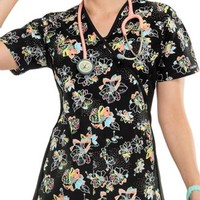 Buy Cherokee Flexibles Women's Bloom Service Mock Wrap Knit Panel Printed Scrub Top for $21.45