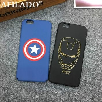 Fashion Cartoon Captain America Iron Man Matte Plastic Back Cover for Apple IPhone 6 6s Ultra Thin Phone Cases Shell Coque Capa