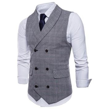 Riinr New Fashion  Chaleco Hombre High Quality Business Casual Striped Sleeveless Double-Breasted Men's Suit Vests