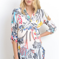 White Floral Maternity Tunic Top