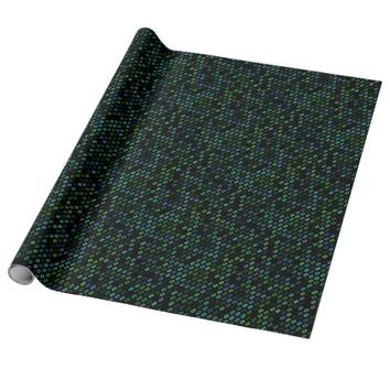 Geometric Pattern Blue and Green Circles Retro Wrapping Paper