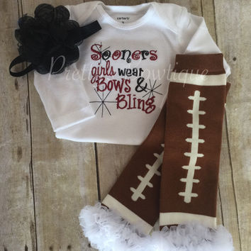 Oklahoma football outfit girls like bling bodysuits  set with ruffled football leg warmers and headband Sooners