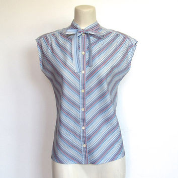 Vintage 1970s Panther / Sleeveless Chevron Stripe Secretary Blouse / Button-down Shirt