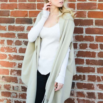 Ivory Solid Color Shawl with Armholes
