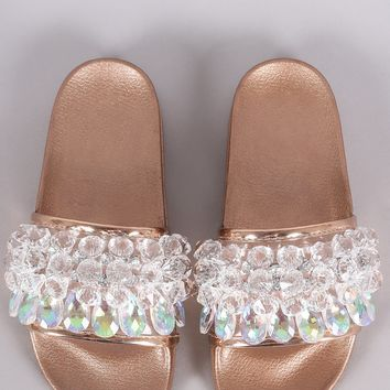 Crystal Embellished Open Toe Slide Sandal