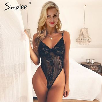 Simplee Sexy lace black bodysuit jumpsuit romper Women hollow out flower bow bodysuit Backless transparent strap slim bodysuit