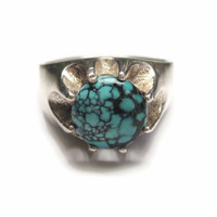 Men's Turquoise Ring Sterling Silver Size 10