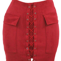 Red Suede Pocket Lace Up Front Mini Skirt