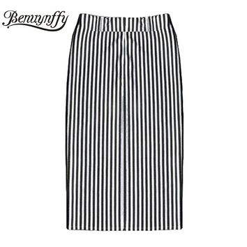 Promotion! Sale 2017 New Fashion Black White Striped Bust Skirts Womens Summer Autumn Female Pencil Knee-Length Midi Skirt Saia