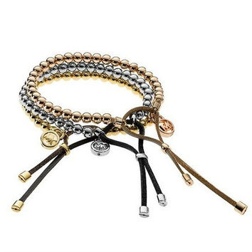 1 PCS Copper Bead Leather Bracelet for Women Jewelry with Magnetic Clasps Charm Bracelet(Rose Gold , Gold ,Silver, Black) [8833617036]