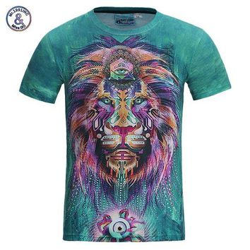NOVO5 Men/women 3d t-shirt funny print colorful hair Lion King shirt