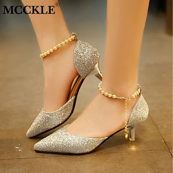 MCCKLE Women Autumn Buckle Strap High Heels Ladies Pumps Pointed Toe String Bead Chain Shoes Thin Heel Sexy Footwear