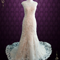 Modest Vintage Lace Champagne Wedding Dress with Cap Sleeves   July