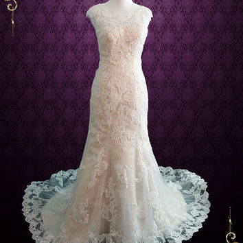 Modest Vintage Lace Champagne Wedding Dress with Cap Sleeves | July