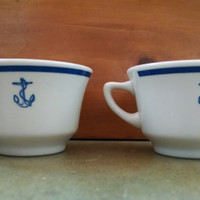 1940s Homer Laughlin Restaurantware WWII Navy Wardroom Officer's Coffee Cups with Blue Anchor- Set of Two